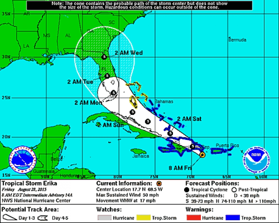 Trayectoria de tormenta tropical Erika